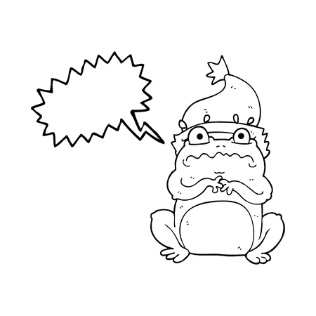 christmas frog: freehand drawn speech bubble cartoon frog in christmas hat