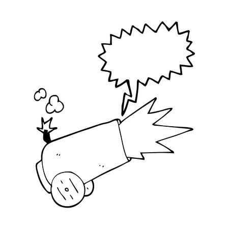 uit de vrije hand getrokken tekstballon cartoon kanon afvuren