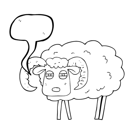 freehand drawn speech bubble cartoon ram covered in mud