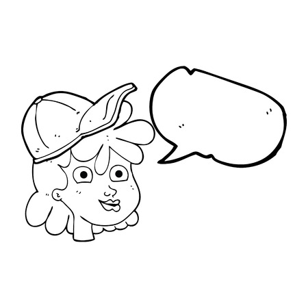 interested: freehand drawn speech bubble cartoon woman wearing cap