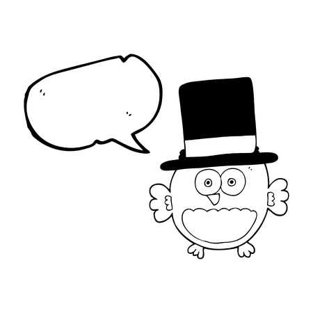 top hat cartoon: freehand drawn speech bubble cartoon owl in top hat