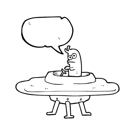 alien clipart: freehand drawn speech bubble cartoon flying saucer Illustration