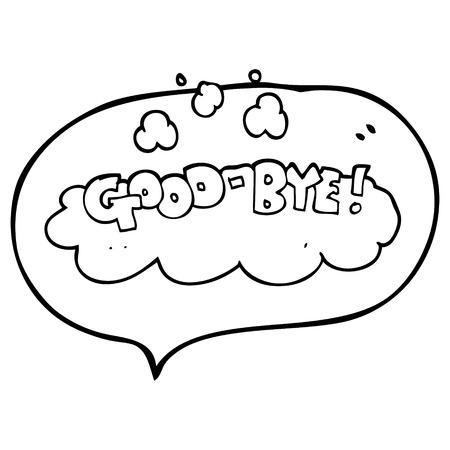 uit de vrije hand getrokken tekstballon cartoon vaarwel symbool Stock Illustratie