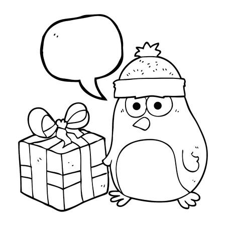 robin: freehand drawn speech bubble cartoon christmas robin Illustration