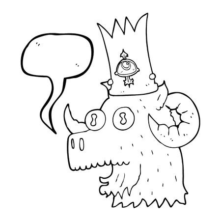 magical: freehand drawn speech bubble cartoon ram head with magical crown
