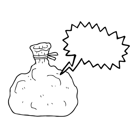 hands tied: freehand drawn speech bubble cartoon tied sack