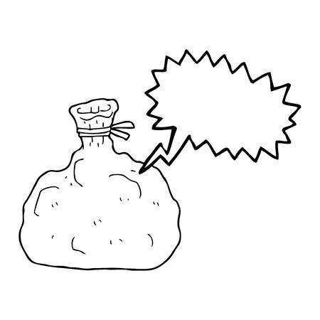 tied: freehand drawn speech bubble cartoon tied sack