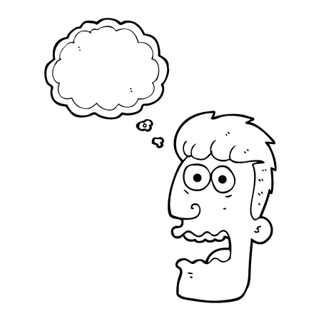freehand drawn thought bubble cartoon shocked man Illustration