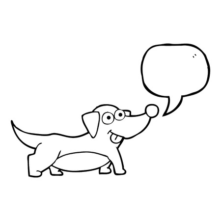 little dog: freehand drawn speech bubble cartoon happy little dog