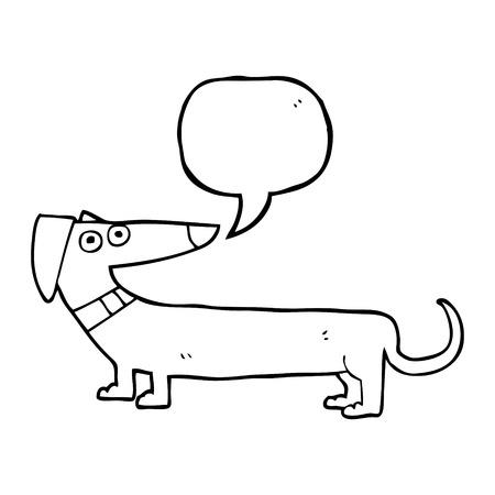 sausage dog: freehand drawn speech bubble cartoon sausage dog Illustration
