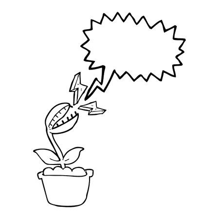 venus: freehand drawn speech bubble cartoon venus fly trap