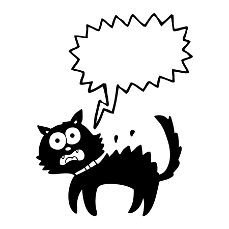 scared: freehand drawn speech bubble cartoon scared black cat Illustration