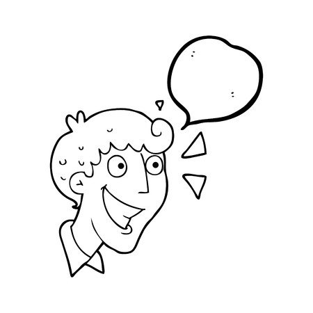 realization: freehand drawn speech bubble cartoon excited man Illustration
