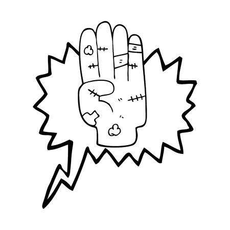 bruise: freehand drawn speech bubble cartoon injured hand