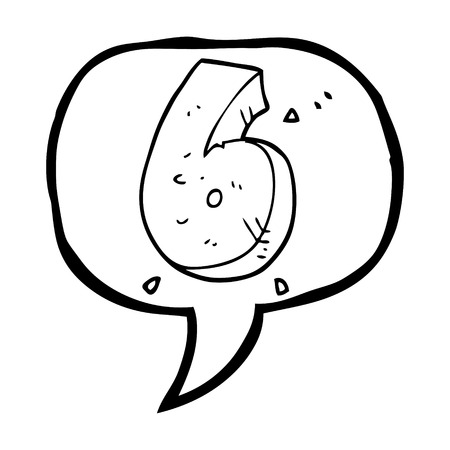 crumbling: freehand drawn speech bubble cartoon stone number six Illustration