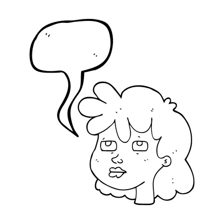 sleepy woman: freehand drawn speech bubble cartoon female face