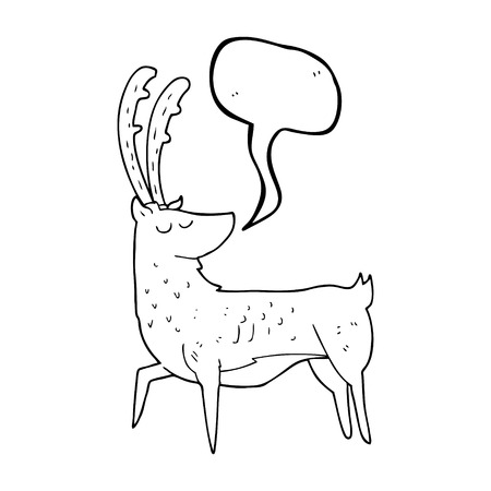 manly: freehand drawn speech bubble cartoon manly stag