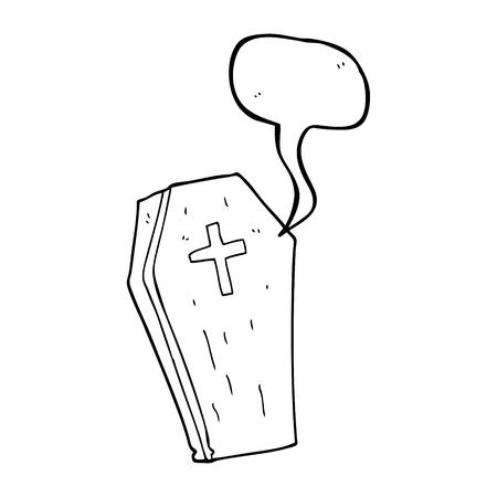 coffin: freehand drawn speech bubble cartoon spooky coffin