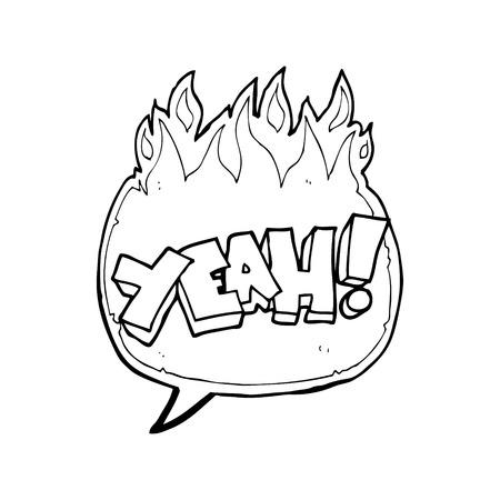 shout: yeah! freehand drawn speech bubble cartoon shout