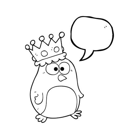 emperor: freehand drawn speech bubble cartoon emperor penguin