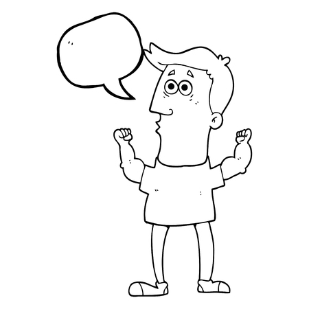 surprised man: freehand drawn speech bubble cartoon surprised man flexing biceps