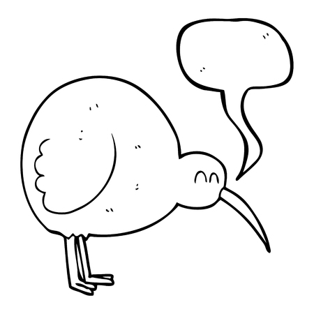 flightless: freehand drawn speech bubble cartoon kiwi bird