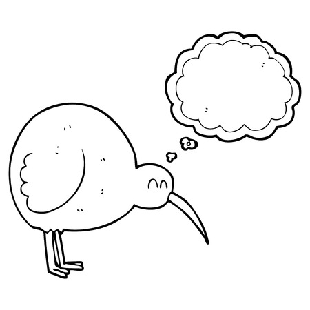 flightless: freehand drawn thought bubble cartoon kiwi bird Illustration