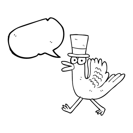 flapping: freehand drawn speech bubble cartoon duck in top hat Illustration