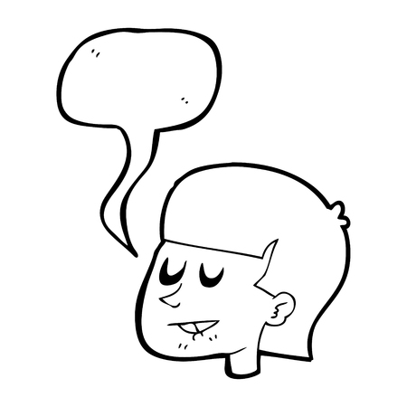 biting: freehand drawn speech bubble cartoon man biting lip