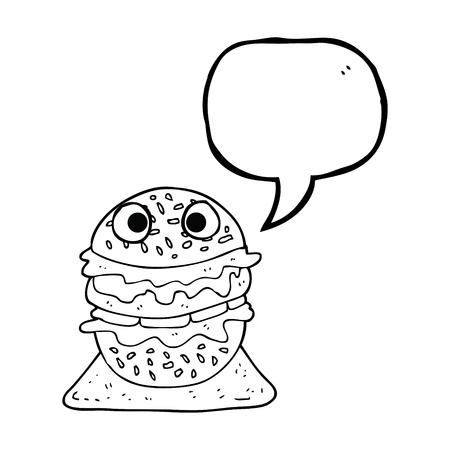 tasty: freehand drawn speech bubble cartoon tasty burger