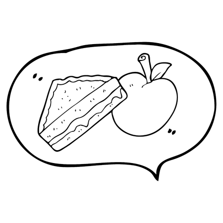 packed: freehand drawn speech bubble cartoon packed lunch