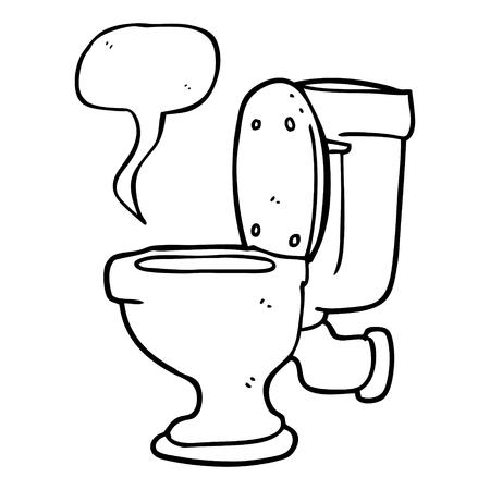 flushing: freehand drawn speech bubble cartoon toilet