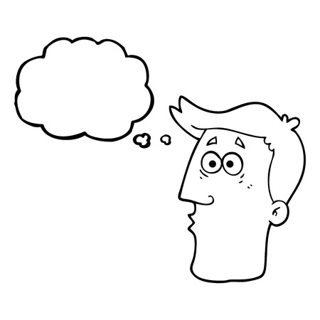 male face: freehand drawn thought bubble cartoon male face