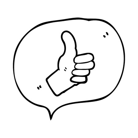 thumbs up sign: freehand drawn speech bubble cartoon thumbs up sign