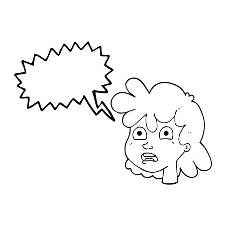 gasping: freehand drawn speech bubble cartoon female face