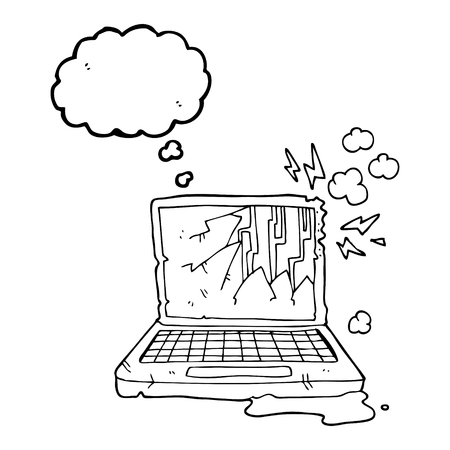 broken computer: freehand drawn thought bubble cartoon broken computer Illustration