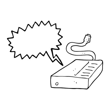 hard drive: freehand drawn speech bubble cartoon hard drive