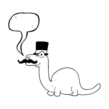 posh: freehand drawn speech bubble cartoon posh dinosaur