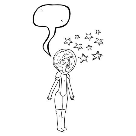 alien women: freehand drawn speech bubble cartoon alien space girl Illustration