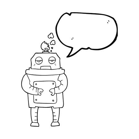 talking robot: freehand drawn speech bubble cartoon broken robot