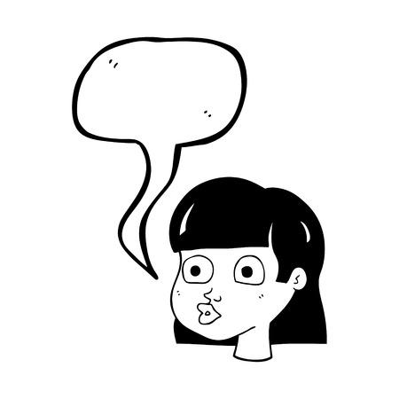 wide eyed: freehand drawn speech bubble cartoon female face