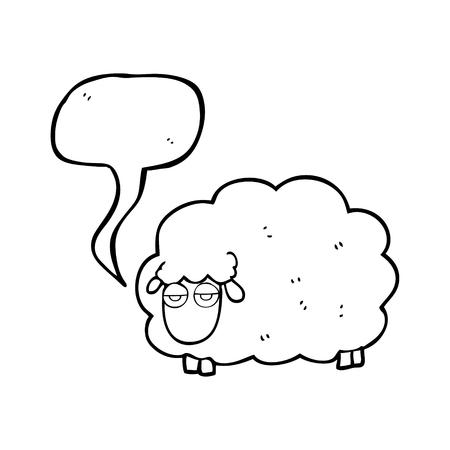 muddy: freehand drawn speech bubble cartoon muddy winter sheep Illustration