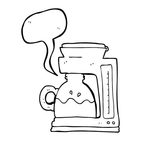 coffee filter: freehand drawn speech bubble cartoon coffee filter machine