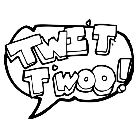 twit: freehand drawn speech bubble cartoon twit two owl call text Illustration