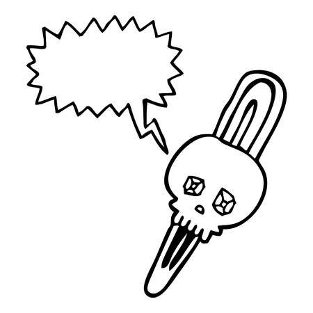 hairclip: freehand drawn speech bubble cartoon skull hairclip