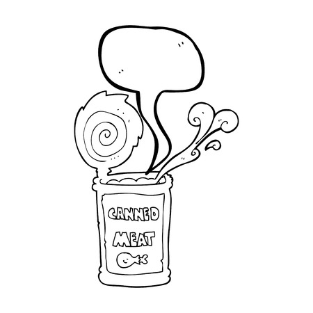 canned meat: freehand drawn speech bubble cartoon canned meat