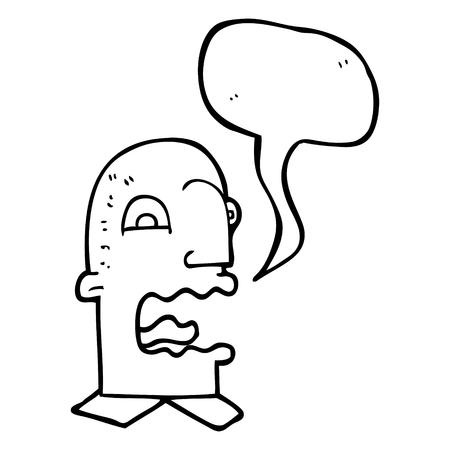 burping: freehand drawn speech bubble cartoon burping man