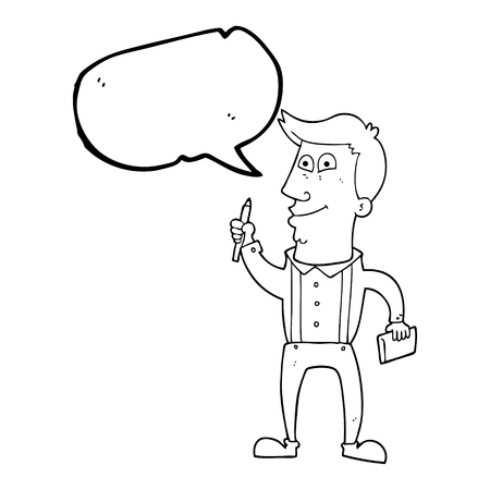 bubble pen: freehand drawn speech bubble cartoon man with notebook and pen