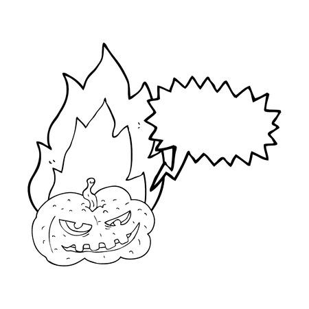 flaming: freehand drawn speech bubble cartoon flaming halloween pumpkin Illustration