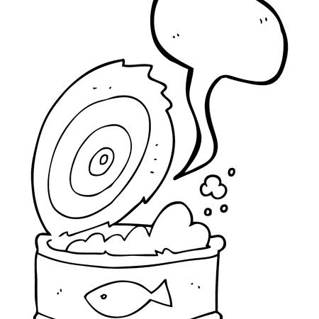 tinned: freehand drawn speech bubble cartoon can of tuna